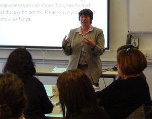 Tanya Riordan opens the first cluster meeting in Portsmouth, May 2013